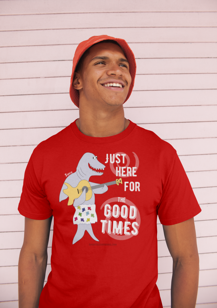 Positive-tshirt-gifts-for-her-women-men-dad-mom-him-funny-sayings-Buddha-tshirt-quotes-spiritual-here-for-good-times-red-man